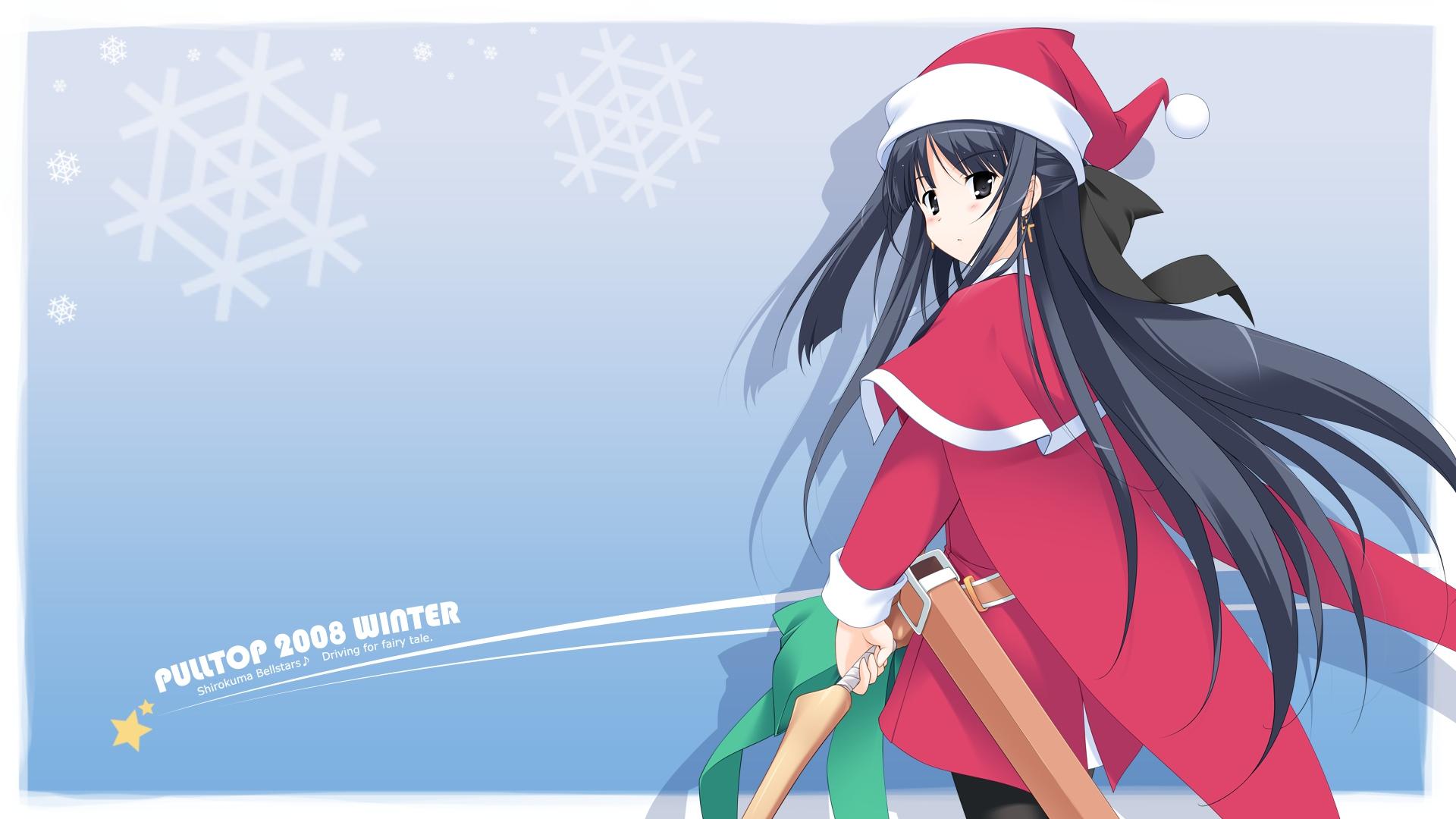 black_eyes black_hair christmas hat santa_costume santa_hat snow tagme