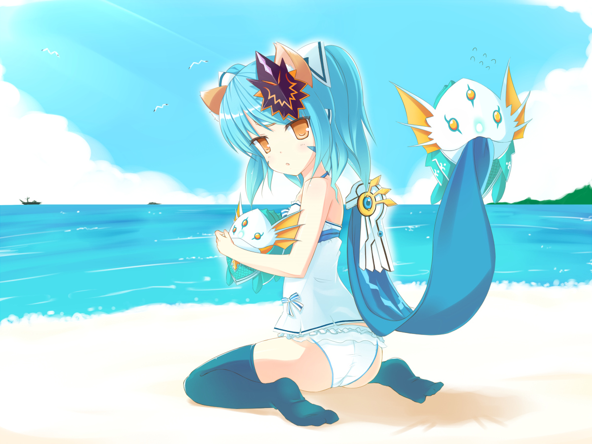 beach blue_hair dexp elsword eve_(elsword) loli panties thighhighs underwear