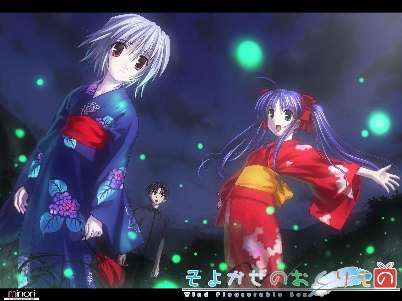 blue_hair gray_hair green_eyes japanese_clothes kimono long_hair minori narukaze_minamo red_eyes tsukishiro_hikari twintails wind:_a_breath_of_heart