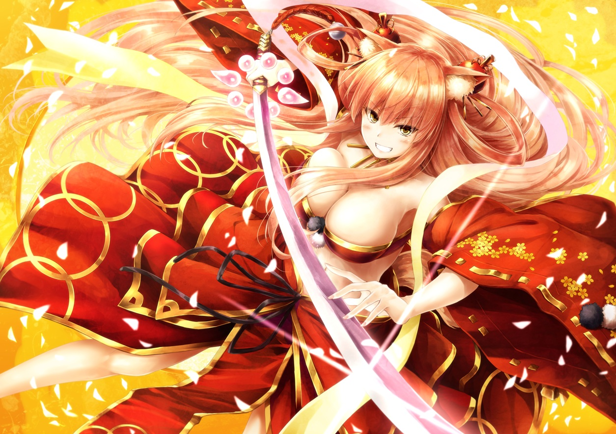 animal_ears blonde_hair blush breasts cleavage fate/extra_ccc fate/extra_ccc_fox_tail fate/grand_order fate_(series) foxgirl katana long_hair necklace saber saber_(fate/extra_ccc_fox_tail) suien sword tail weapon yellow_eyes
