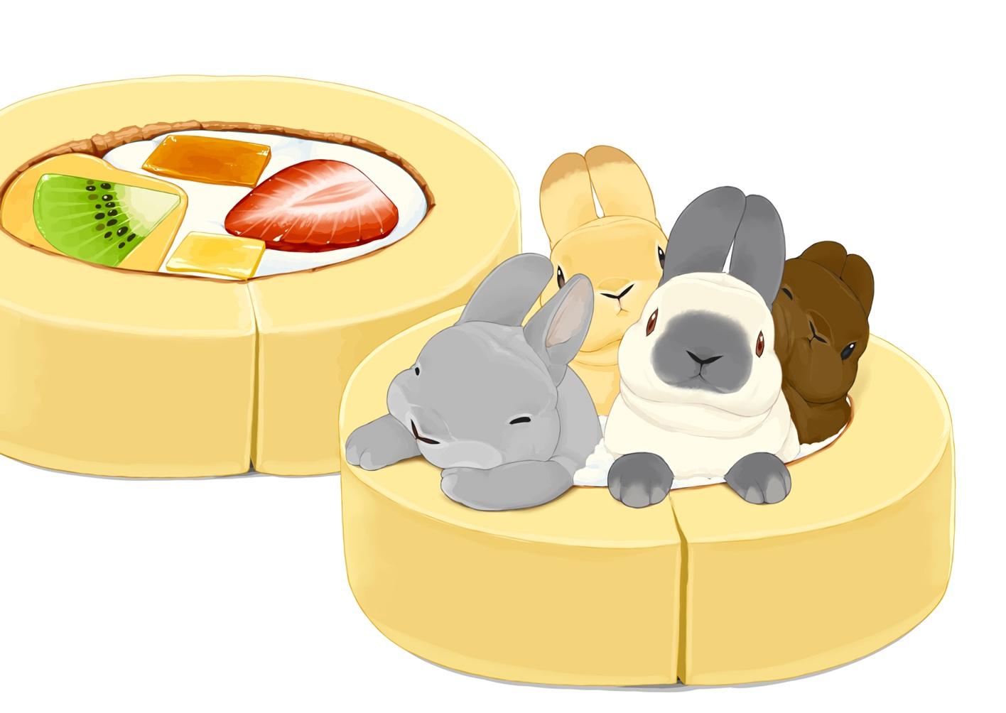 animal cake food fruit lilac_(pfeasy) nobody original rabbit strawberry waifu2x
