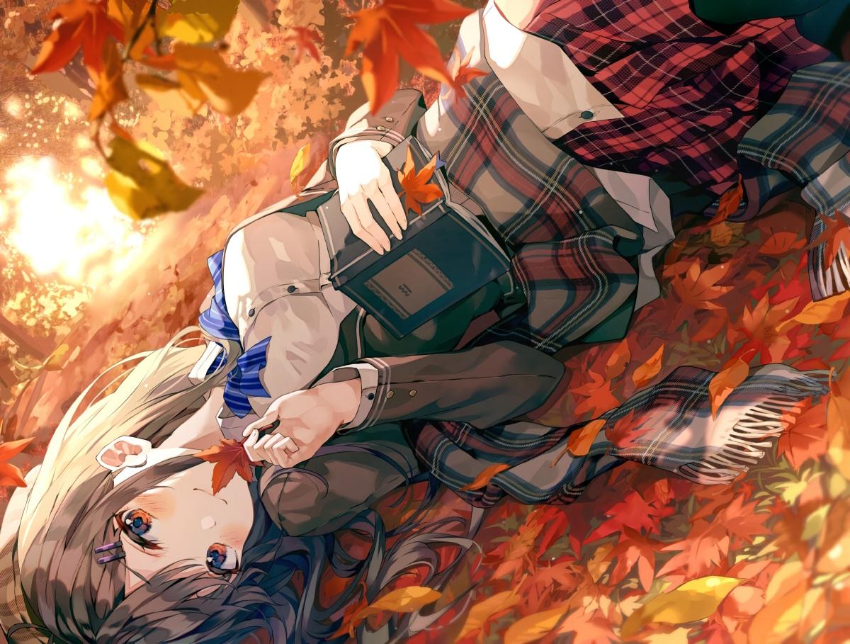autumn blush book brown_hair chicking leaves long_hair original pantyhose red_eyes scarf school_uniform shirt skirt