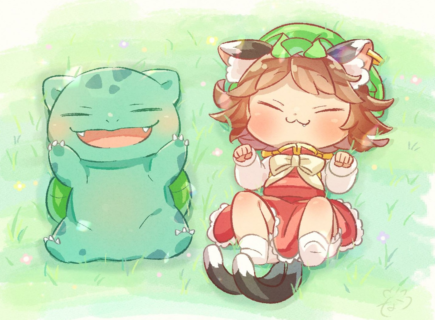 animal_ears bow brown_hair bulbasaur catgirl cat_smile chen chibi crossover dress fang grass hat ibaraki_natou multiple_tails pokemon short_hair tail touhou