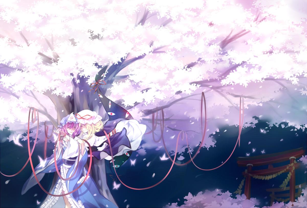 cherry_blossoms dress hat japanese_clothes petals ribbons saigyouji_yuyuko touhou yakumo_yukari