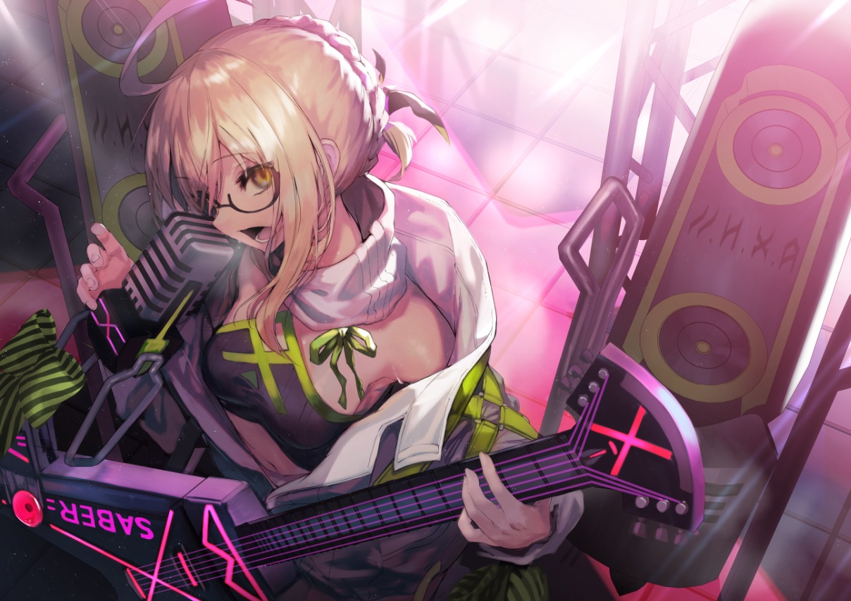 akieda artoria_pendragon_(all) blonde_hair fate/grand_order fate_(series) glasses guitar instrument microphone mysterious_heroine_x mysterious_heroine_x_alter navel yellow_eyes