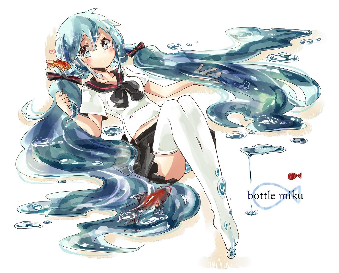 animal blush bottle_miku fish hatsune_miku long_hair panties school_uniform striped_panties thighhighs tsumikisumi twintails underwear vocaloid water