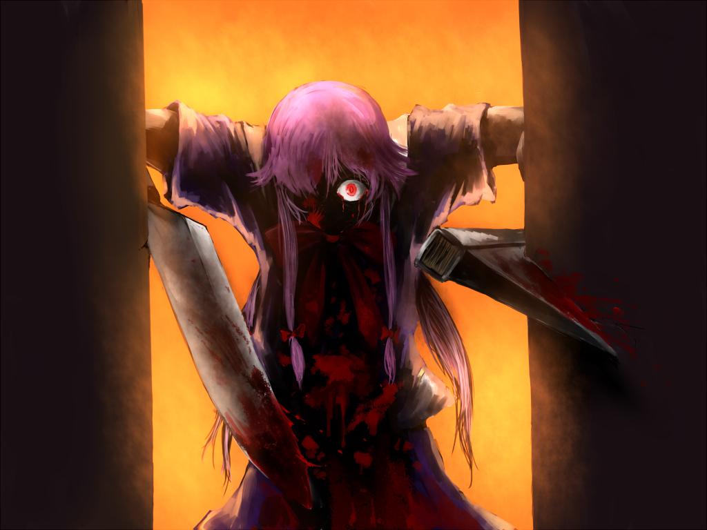 blood chama_(painter) gasai_yuno hellsing long_hair mirai_nikki parody pink_hair red_eyes sword twintails weapon