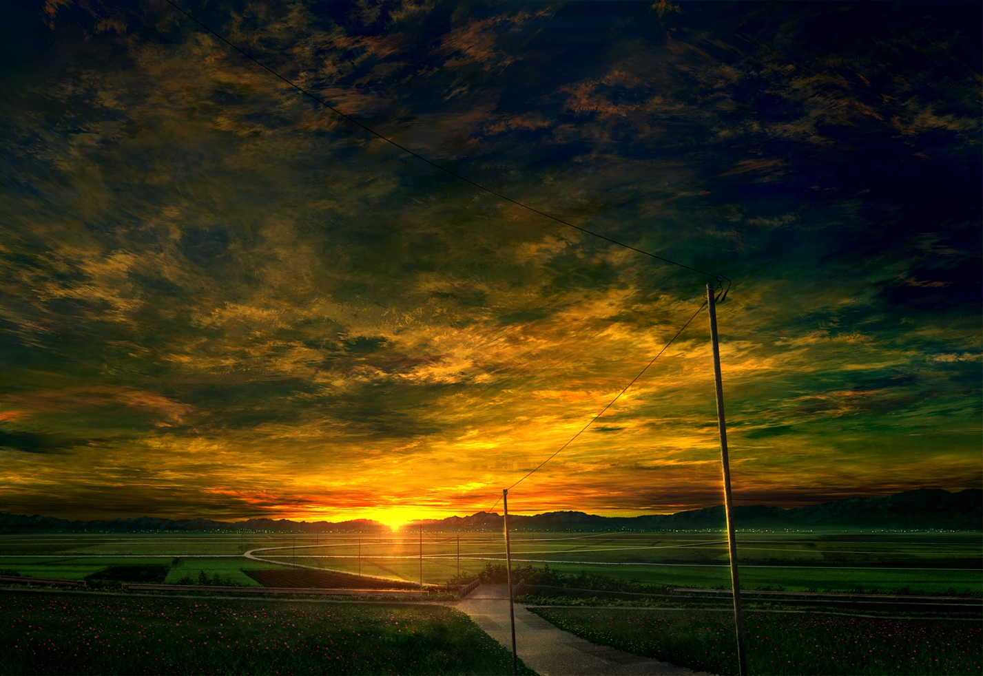 clouds flowers landscape mks nobody original scenic sky sunset