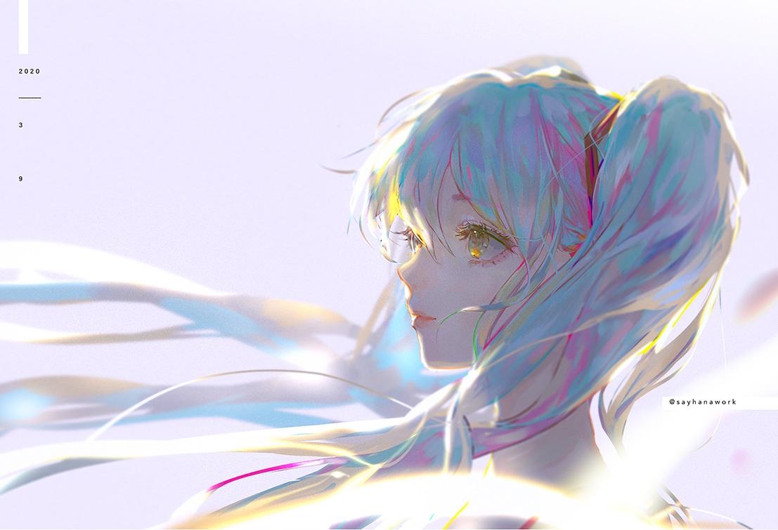 blue_hair hatsune_miku long_hair say_hana twintails vocaloid watermark yellow_eyes