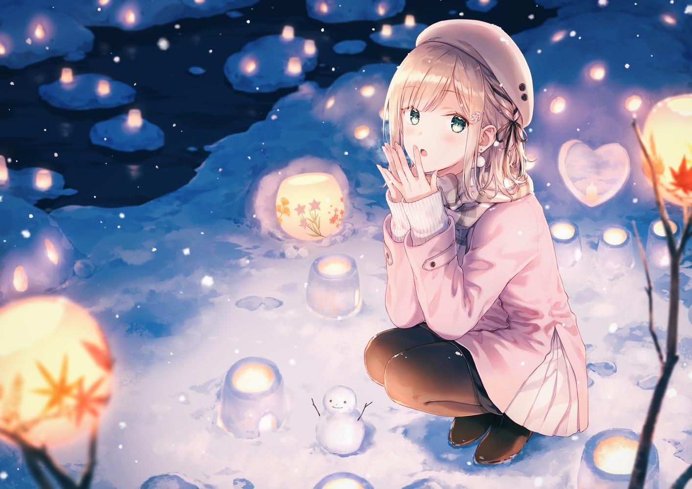 blush green_eyes hat hiten_goane_ryu original snow snowman winter