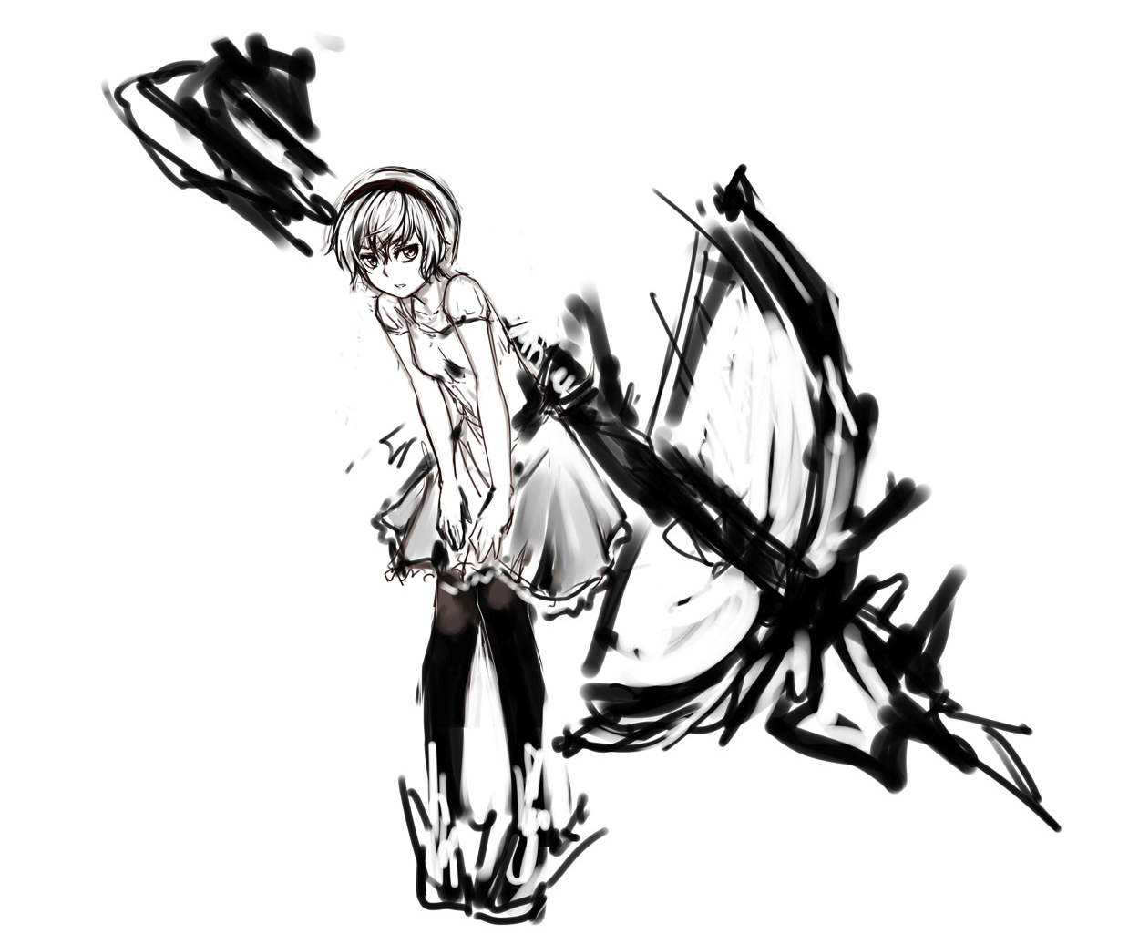 monochrome original pantyhose pas_(paxiti) short_hair sketch weapon