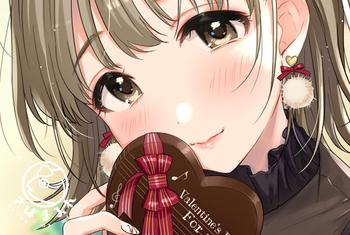 blush brown_eyes brown_hair chocolate close original tsukana_(saba_mizore) valentine waifu2x watermark
