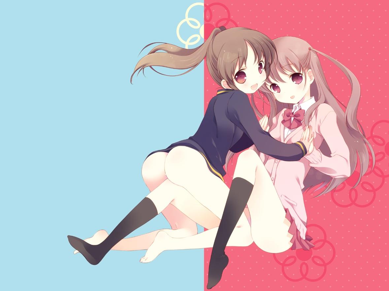 2girls ass atarashi_ako bow brown_hair nopan saki school_uniform skirt takakamo_shizuno tokumi_yuiko yuri