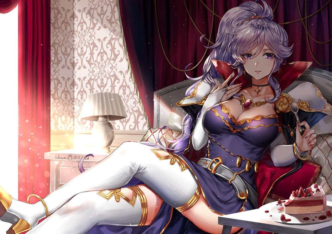 boots breasts cake cleavage dress fire_emblem food ishtar_(fire_emblem) long_hair necklace ponytail purple_eyes purple_hair signed thighhighs wanilmith