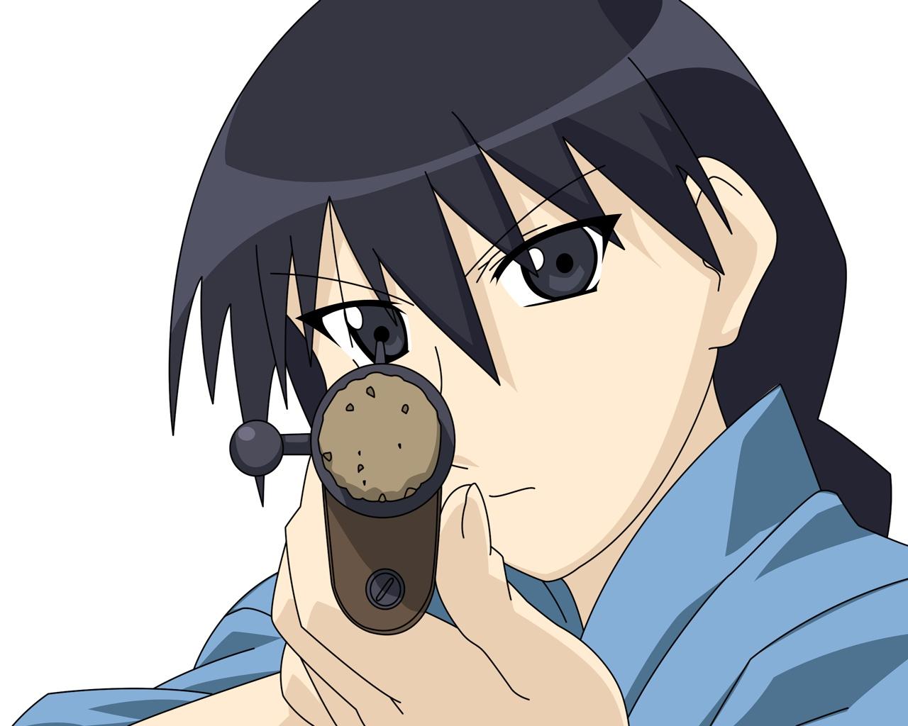 azumanga_daioh black_eyes black_hair gun sakaki weapon white