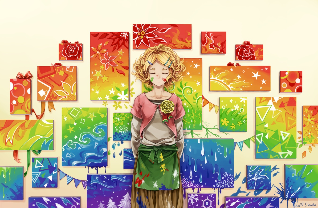 blonde_hair flowers original shirono_hato short_hair signed tagme