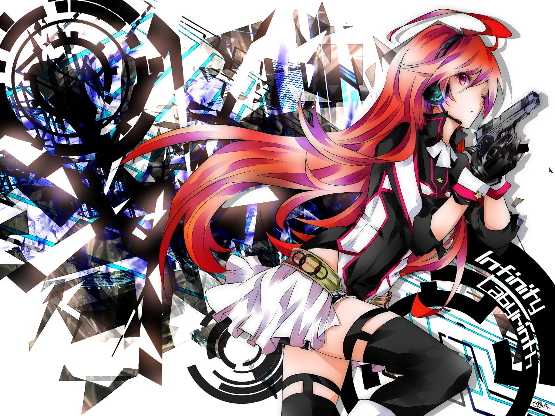 gloves gun headphones miki_(vocaloid) red_hair thighhighs tyouya vocaloid weapon