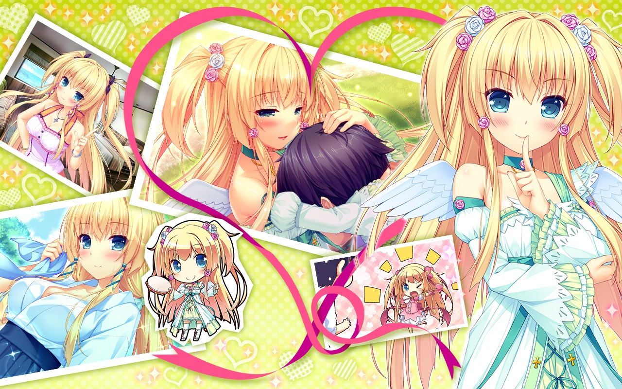 aliasing blonde_hair blush boku_to_koi_suru_ponkotsu_akuma flowers fujima_emiri game_cg green_eyes instrument japanese_clothes long_hair miko necklace ribbons sayori smile twintails wings