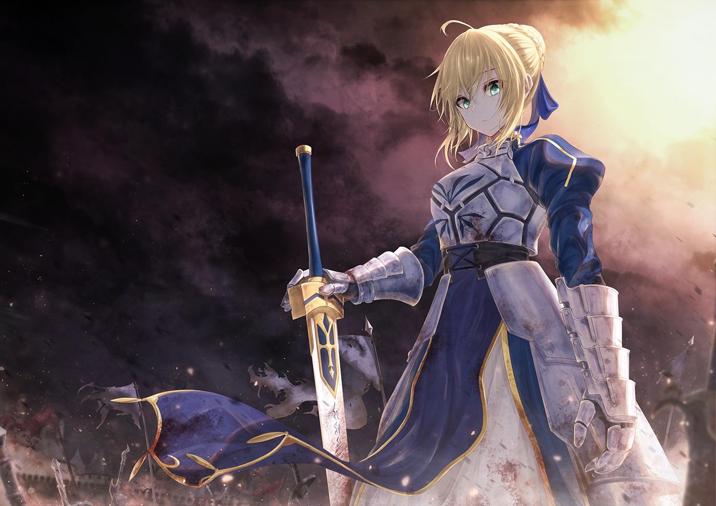 armor artoria_pendragon_(all) blonde_hair boyogo braids clouds dress fate/grand_order fate_(series) green_eyes saber sky sword weapon
