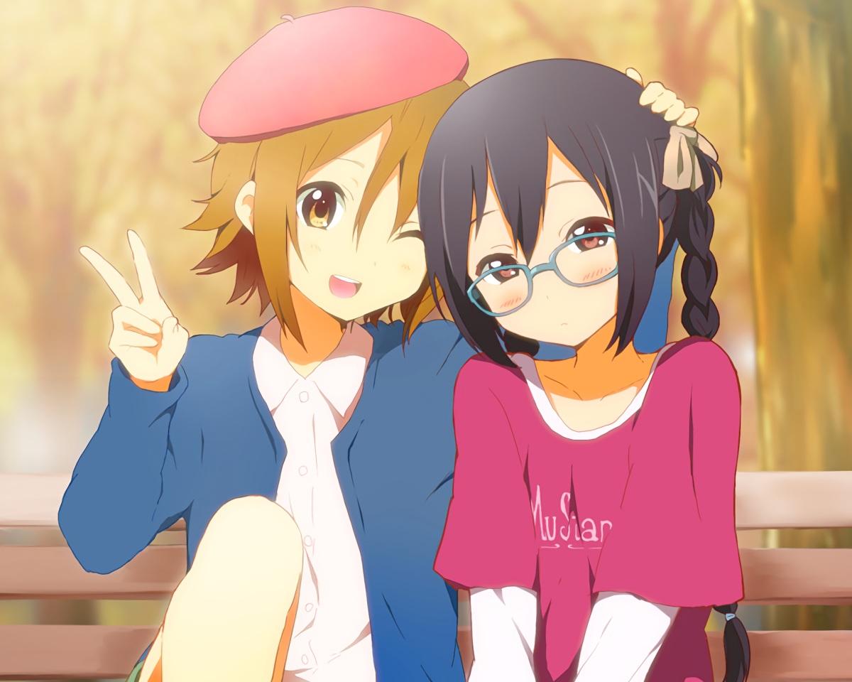 2girls black_hair blush braids brown_eyes brown_hair cropped glasses hat kisuke_(akutamu) k-on! long_hair nakano_azusa tainaka_ritsu twintails waifu2x wink