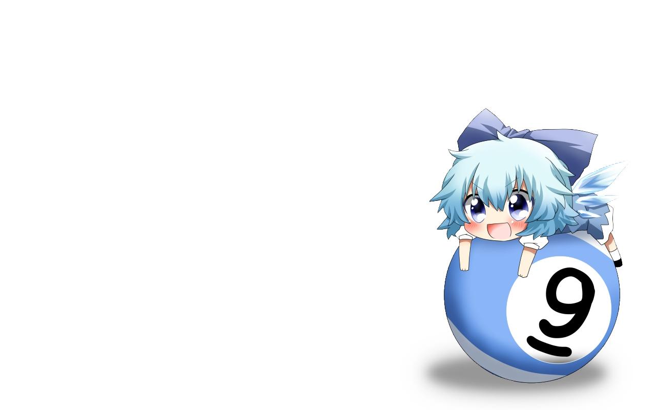 blue_eyes blue_hair blush bow chibi cirno fairy rebecca_(naononakukoroni) short_hair touhou white wings