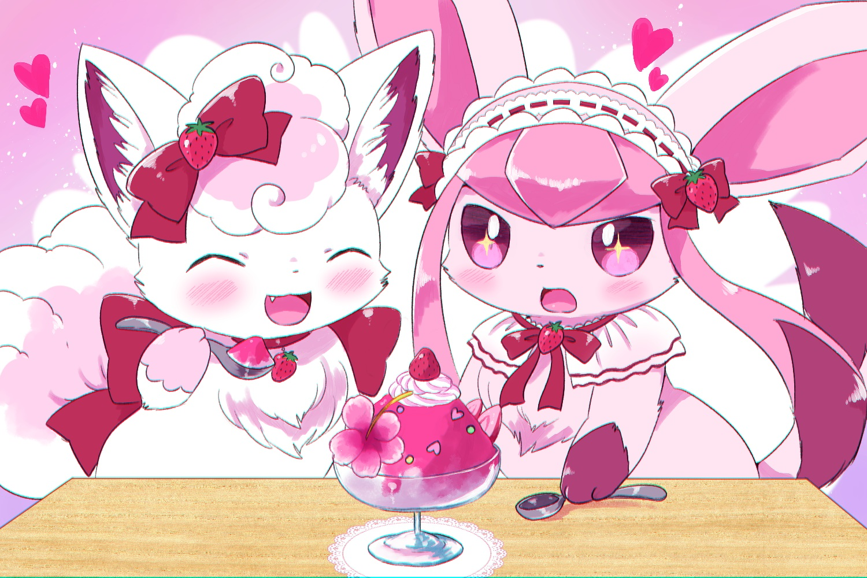 blush bow cat_smile collar fang food fruit glaceon headdress kemoribon lolita_fashion pokemon strawberry vulpix