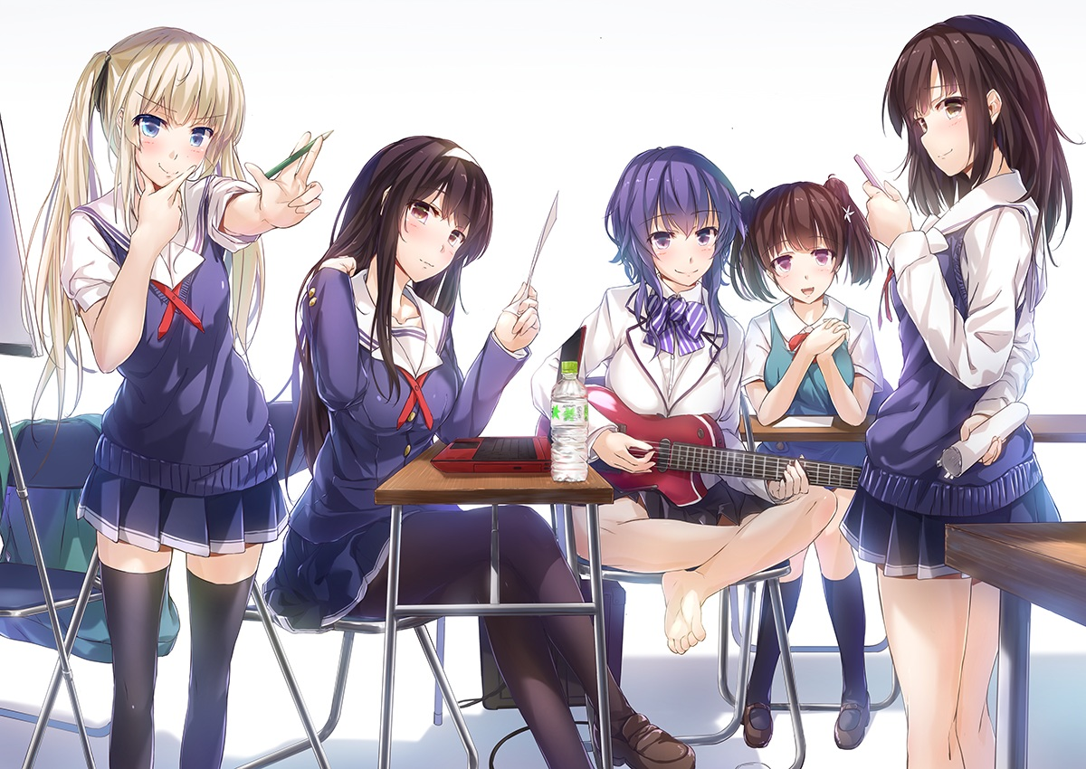 barefoot blonde_hair blue_eyes bow brown_eyes brown_hair computer drink group guitar hashima_izumi headband hyoudou_michiru instrument kasumigaoka_utaha katou_megumi long_hair pantyhose paper phone purple_eyes purple_hair red_eyes ribbons saenai_heroine_no_sodatekata sawamura_spencer_eriri school_uniform short_hair skirt thighhighs twintails wingheart zettai_ryouiki