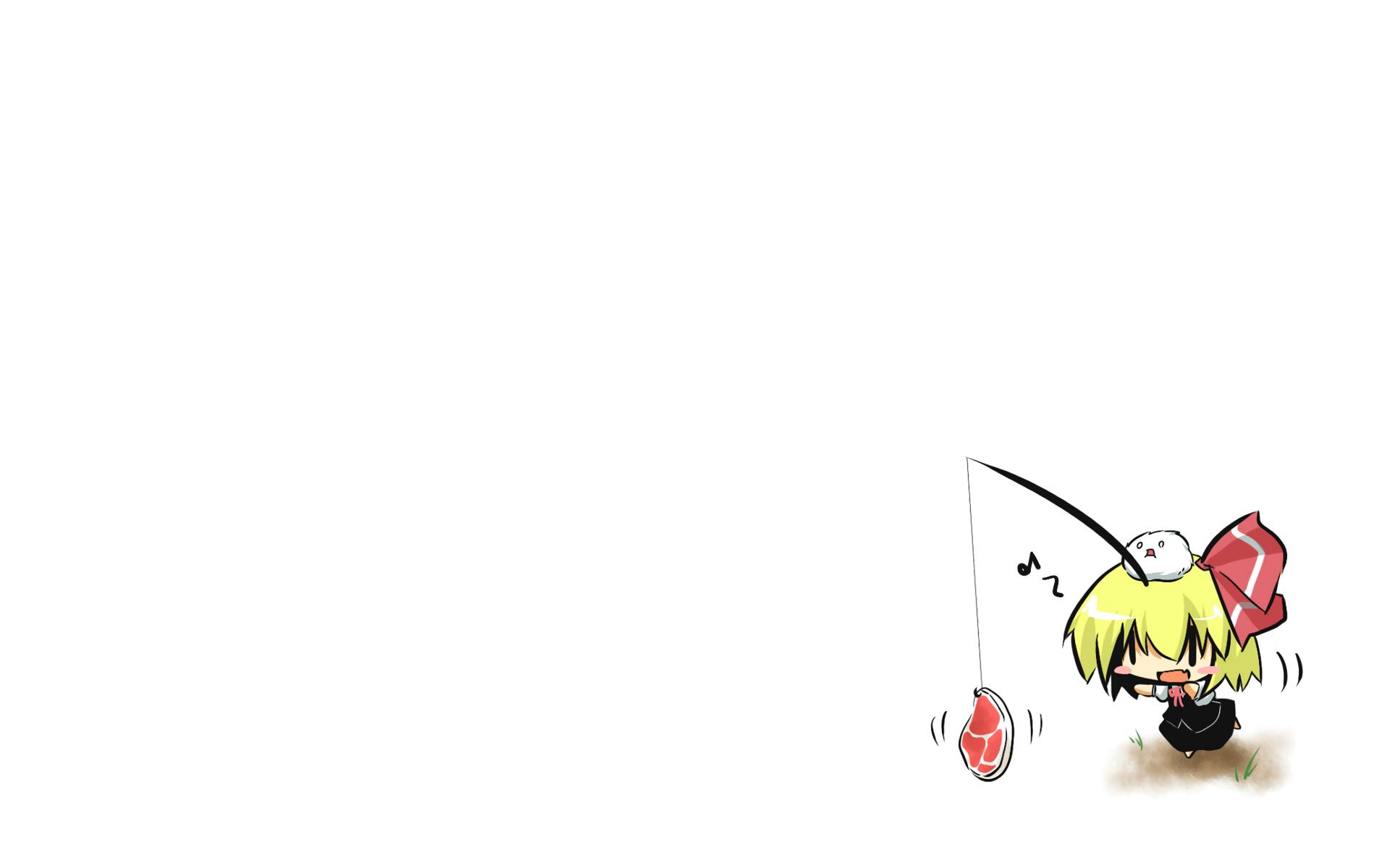 bow chibi food gomasamune kedama ribbons rumia touhou white