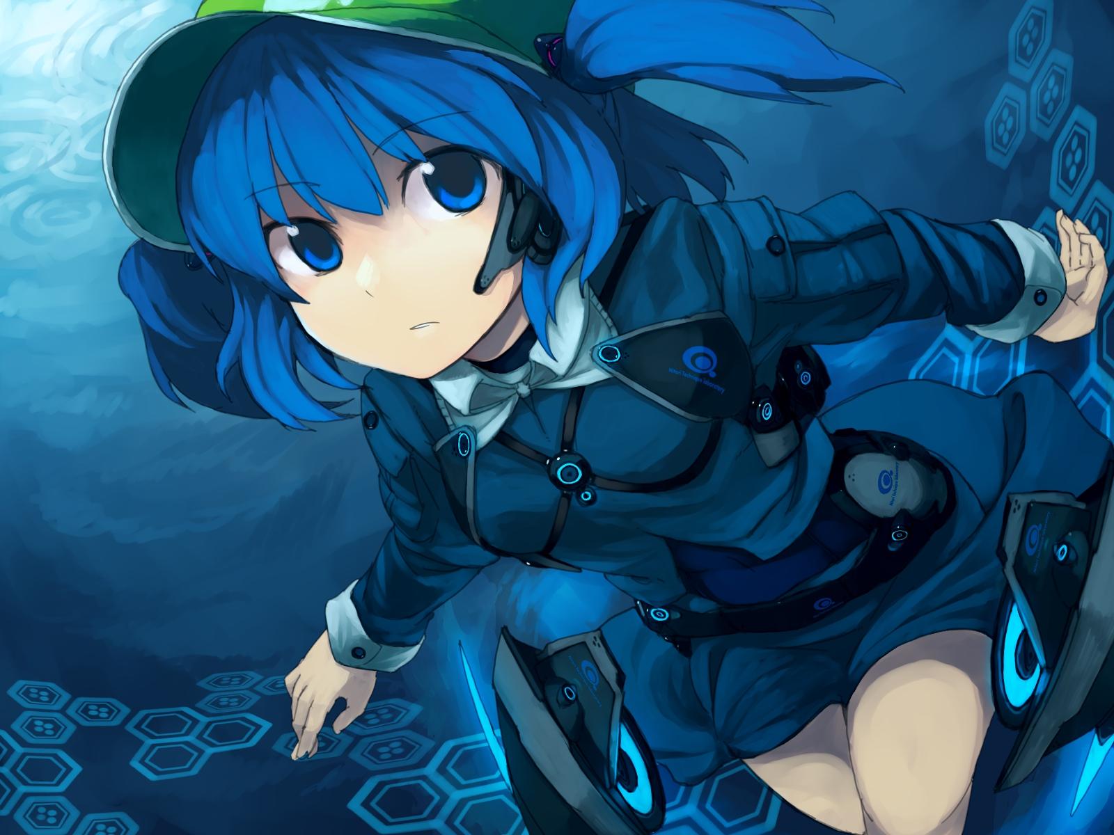 blue_eyes blue_hair hat headphones kawashiro_nitori kitsune_(artist) touhou underwater water