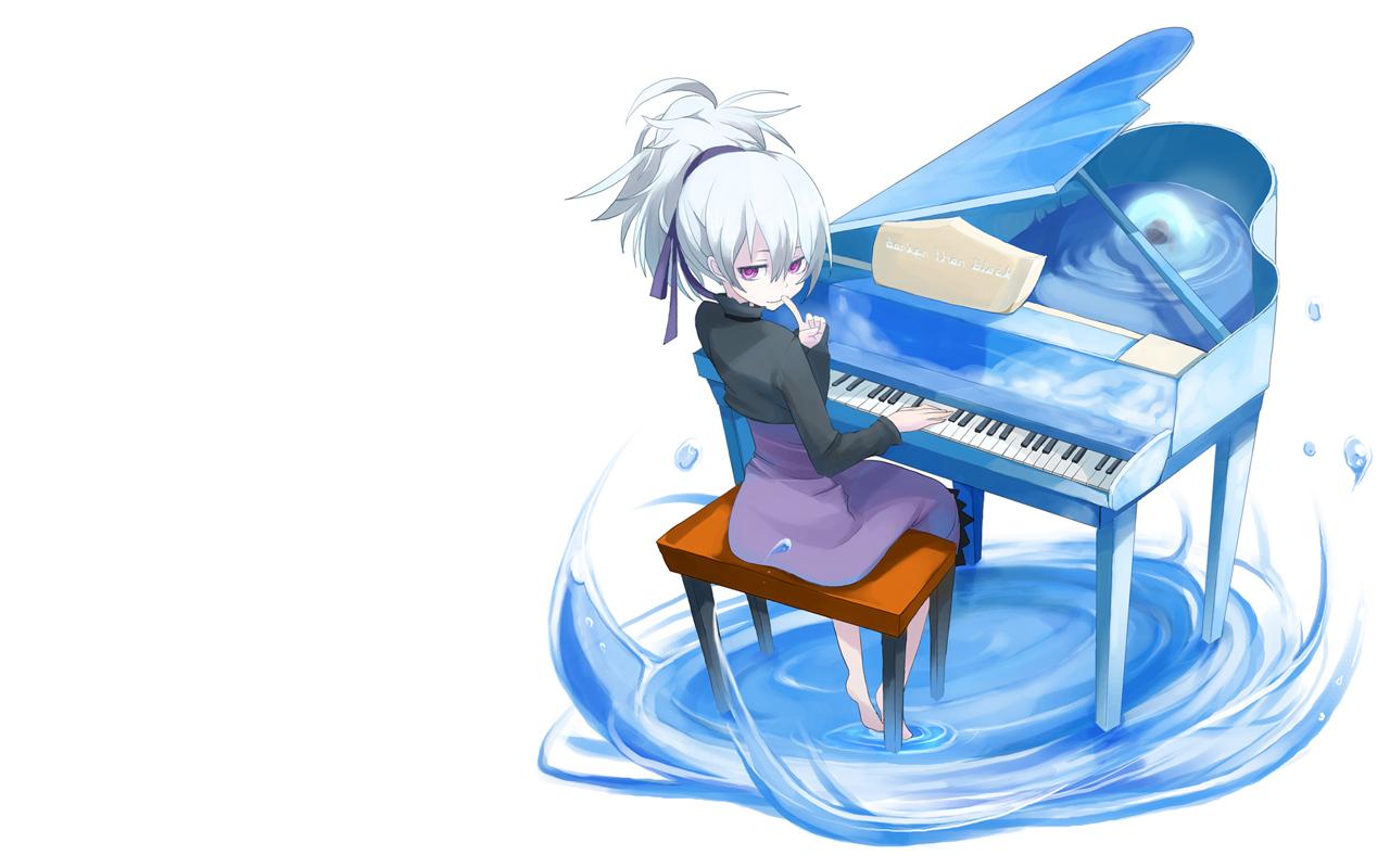 darker_than_black dress instrument piano purple_eyes short_hair water white yin