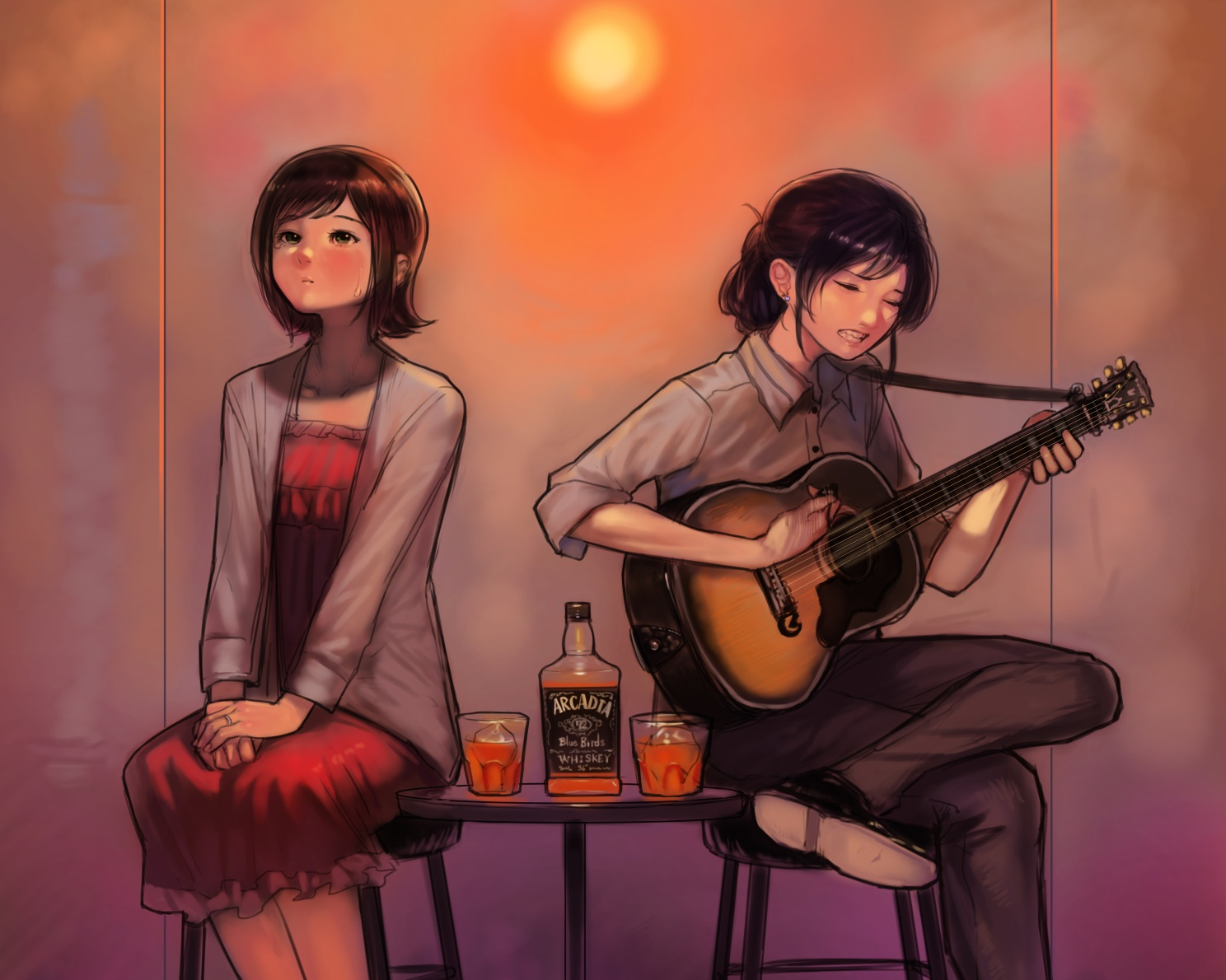 2girls amami_haruka bukimi_isan cropped dress drink guitar idolmaster instrument kisaragi_chihaya shirt