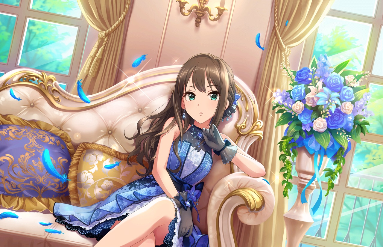 annin_doufu bow brown_hair couch dress feathers flowers gloves green_eyes idolmaster idolmaster_cinderella_girls idolmaster_cinderella_girls_starlight_stage long_hair ribbons shibuya_rin