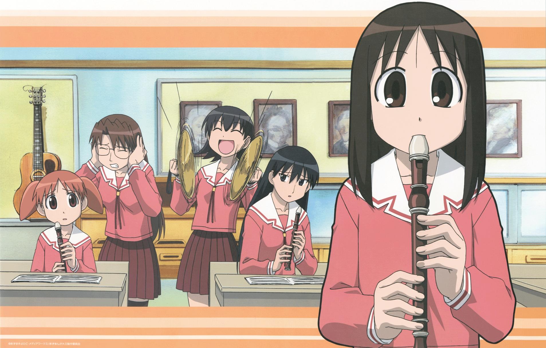 azumanga_daioh black_eyes black_hair group instrument kasuga_ayumu mihama_chiyo mizuhara_koyomi sakaki school_uniform takino_tomo