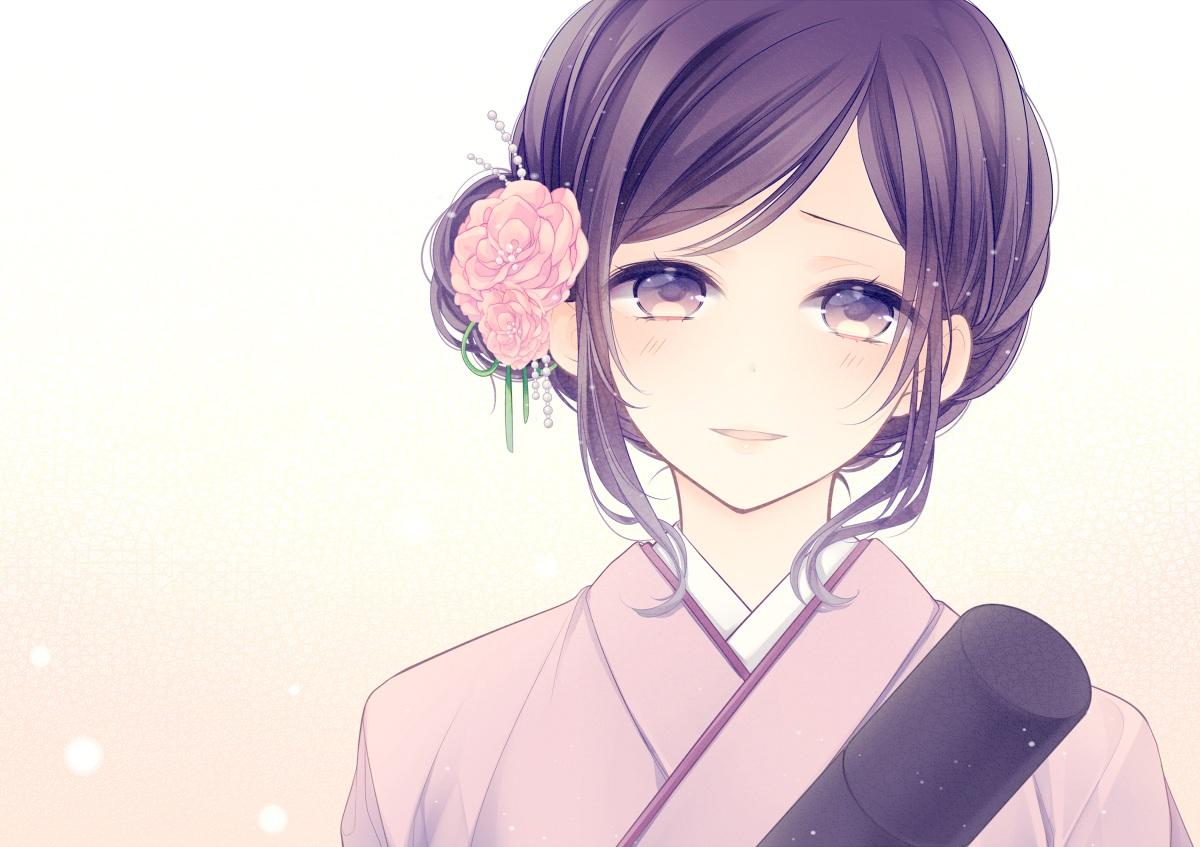 close flowers japanese_clothes original polychromatic tagme_(artist) vocaloid white
