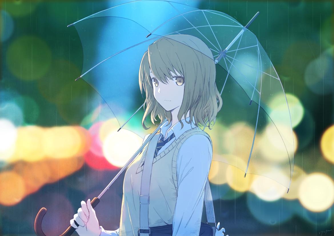 brown_hair original rain ryuga_(balius) seifuku short_hair signed tie umbrella water yellow_eyes
