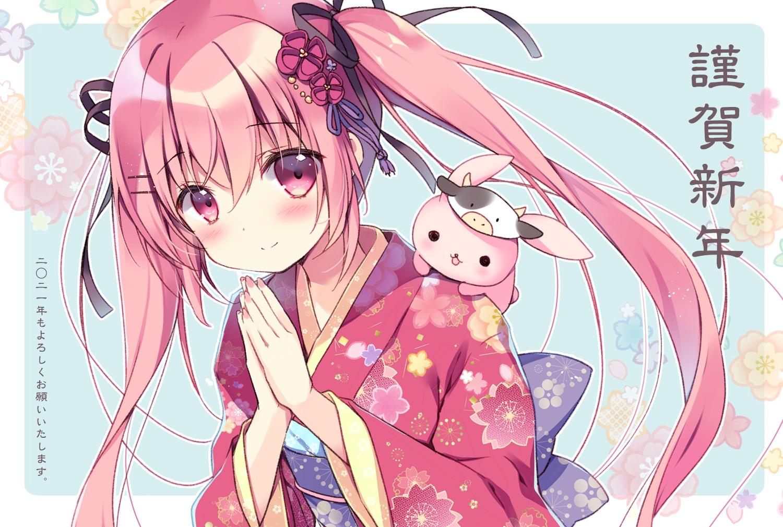 blush bunny japanese_clothes kimono long_hair miyasaka_miyu original pink_eyes pink_hair translation_request twintails