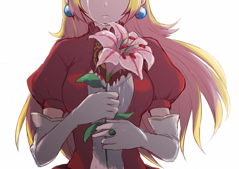 blonde_hair close elbow_gloves flowers gloves long_hair misowhite princess_peach sketch super_mario_bros tears