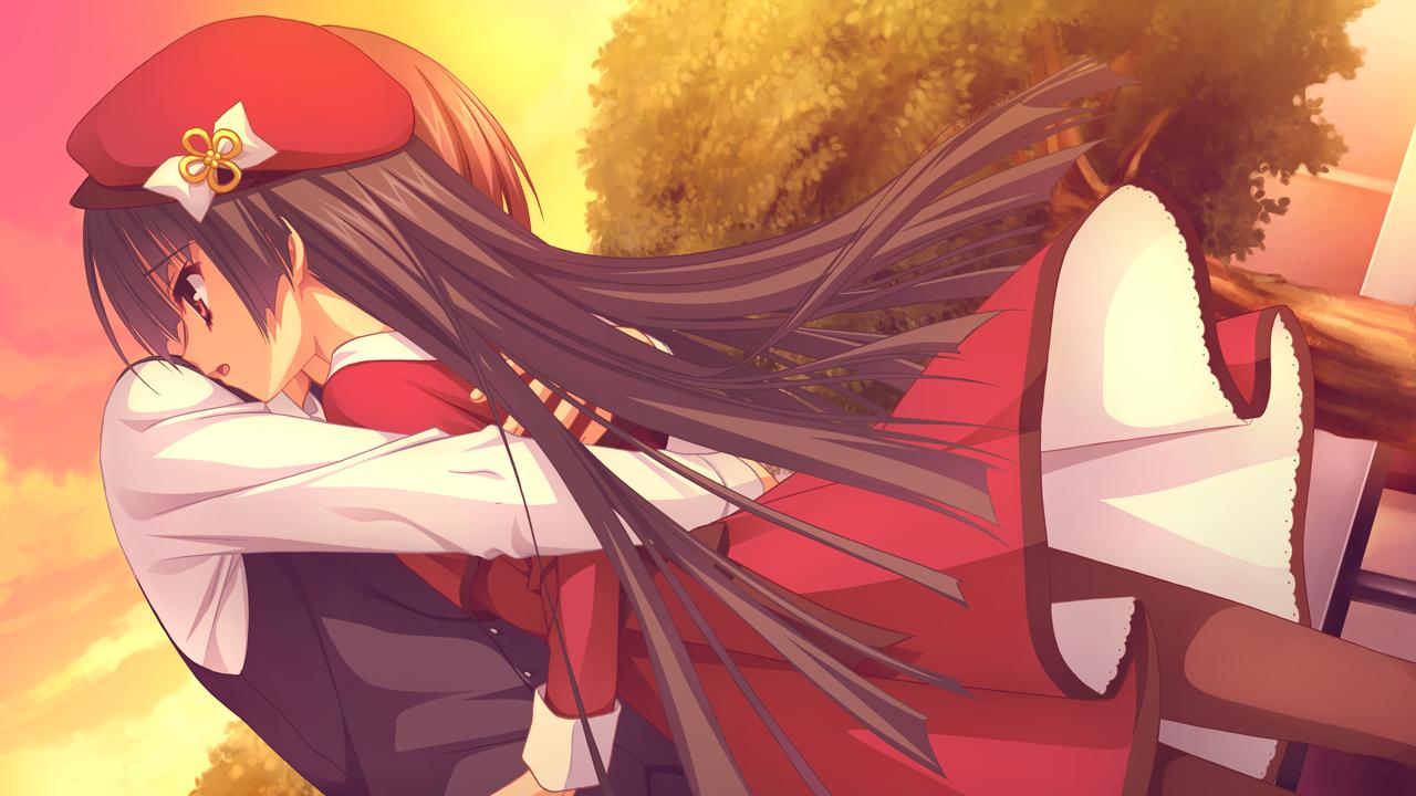 black_hair dress fujishima_takumi game_cg hat hug kobuichi long_hair male masamune_shizuru noble_works pantyhose sunset tree yuzusoft