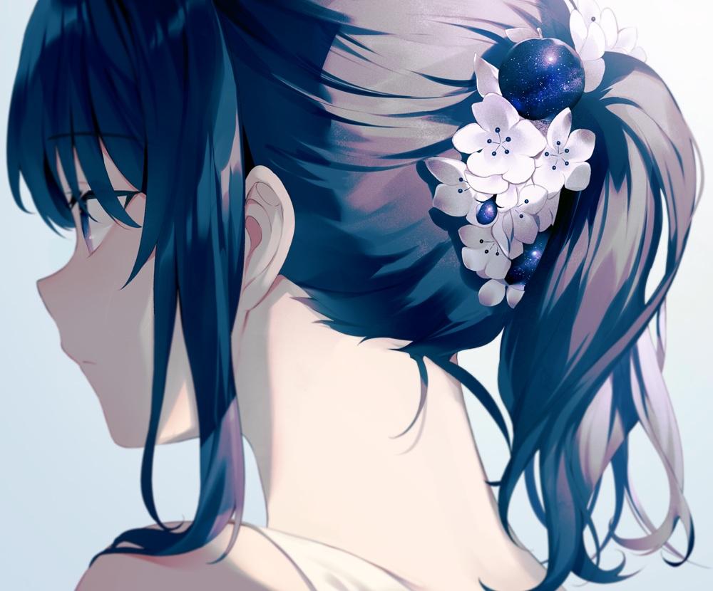 achiki close cropped flowers gradient original polychromatic ponytail stars