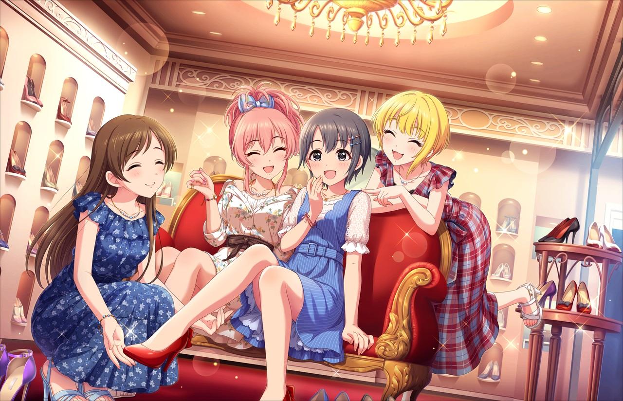 annin_doufu couch dress group idolmaster idolmaster_cinderella_girls idolmaster_cinderella_girls_starlight_stage jougasaki_mika miyamoto_frederica necklace nitta_minami otokura_yuuki wristwear