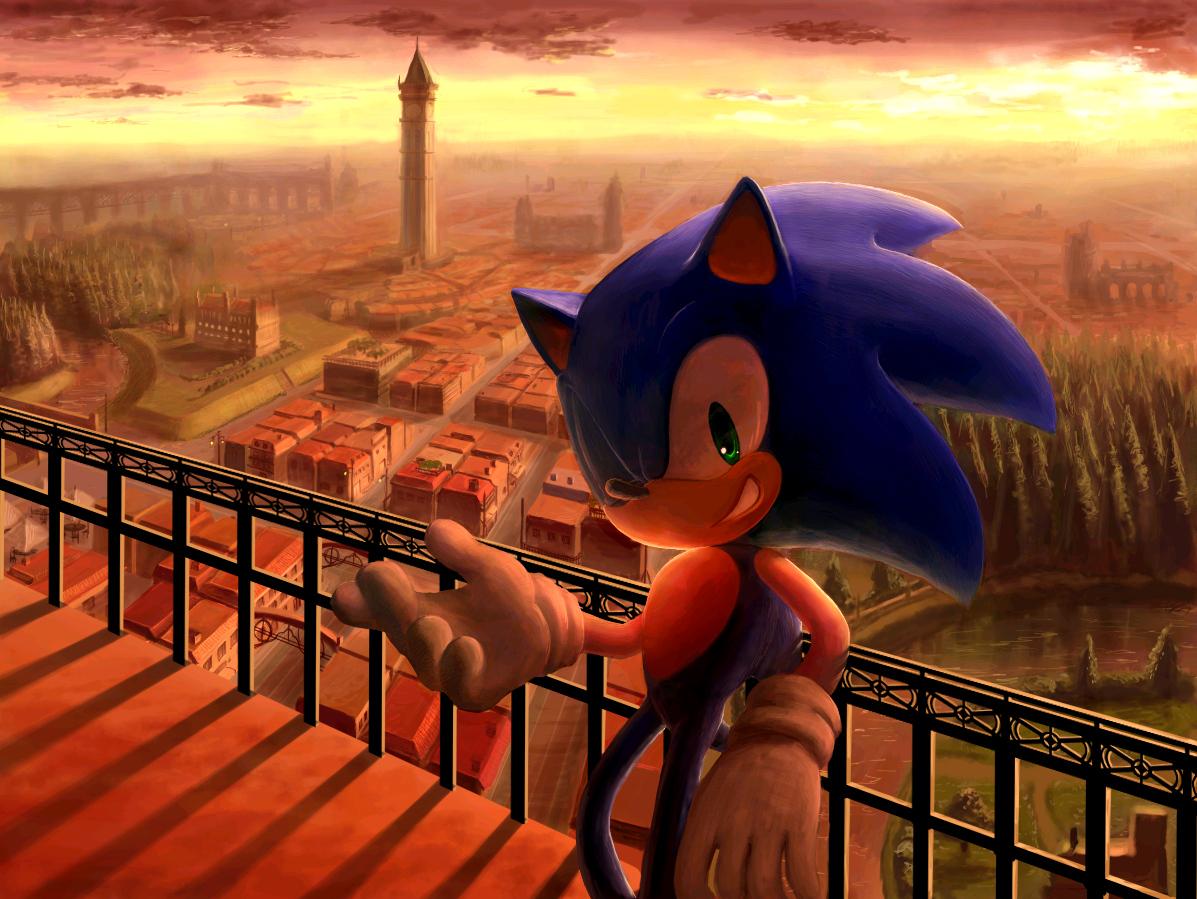 sonic sonic_the_hedgehog sunset