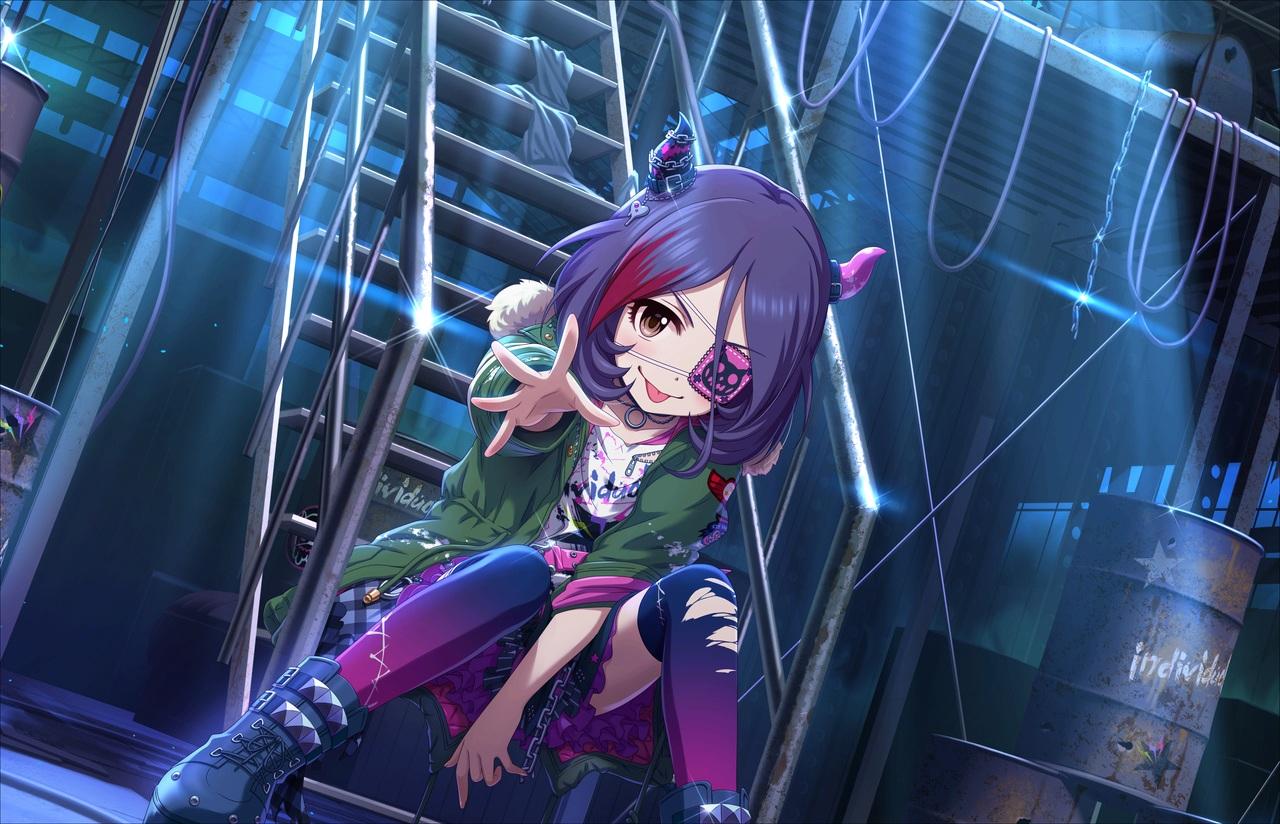 annin_doufu eyepatch hayasaka_mirei horns idolmaster idolmaster_cinderella_girls idolmaster_cinderella_girls_starlight_stage loli purple_hair short_hair thighhighs