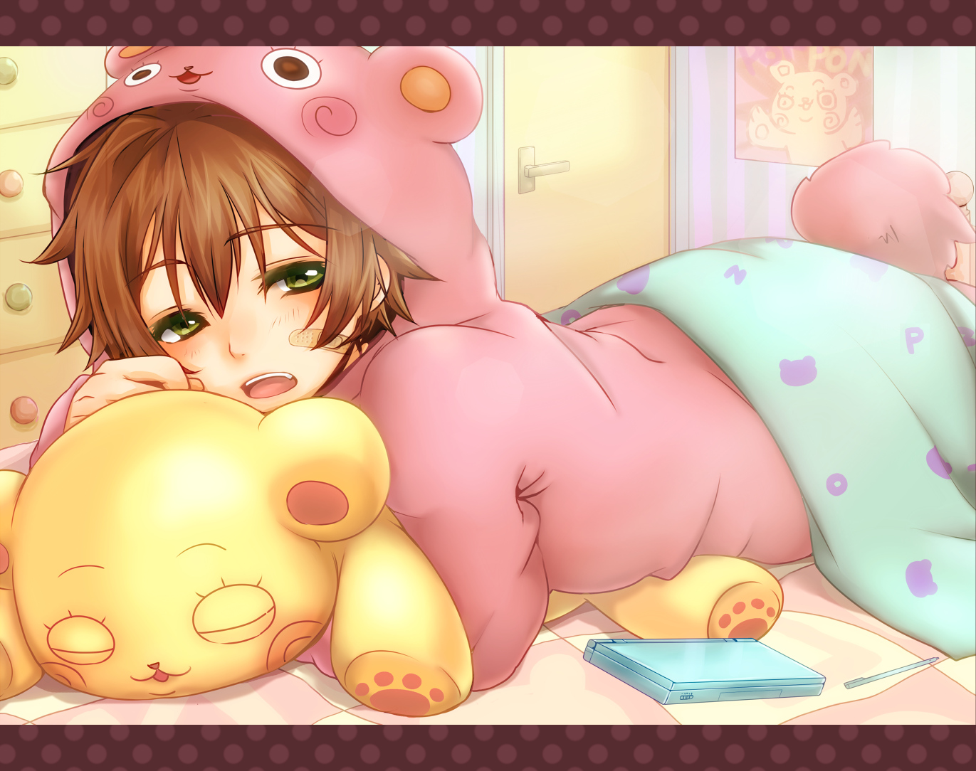 bandaid brown_hair emu_(trigger) green_eyes original pajamas