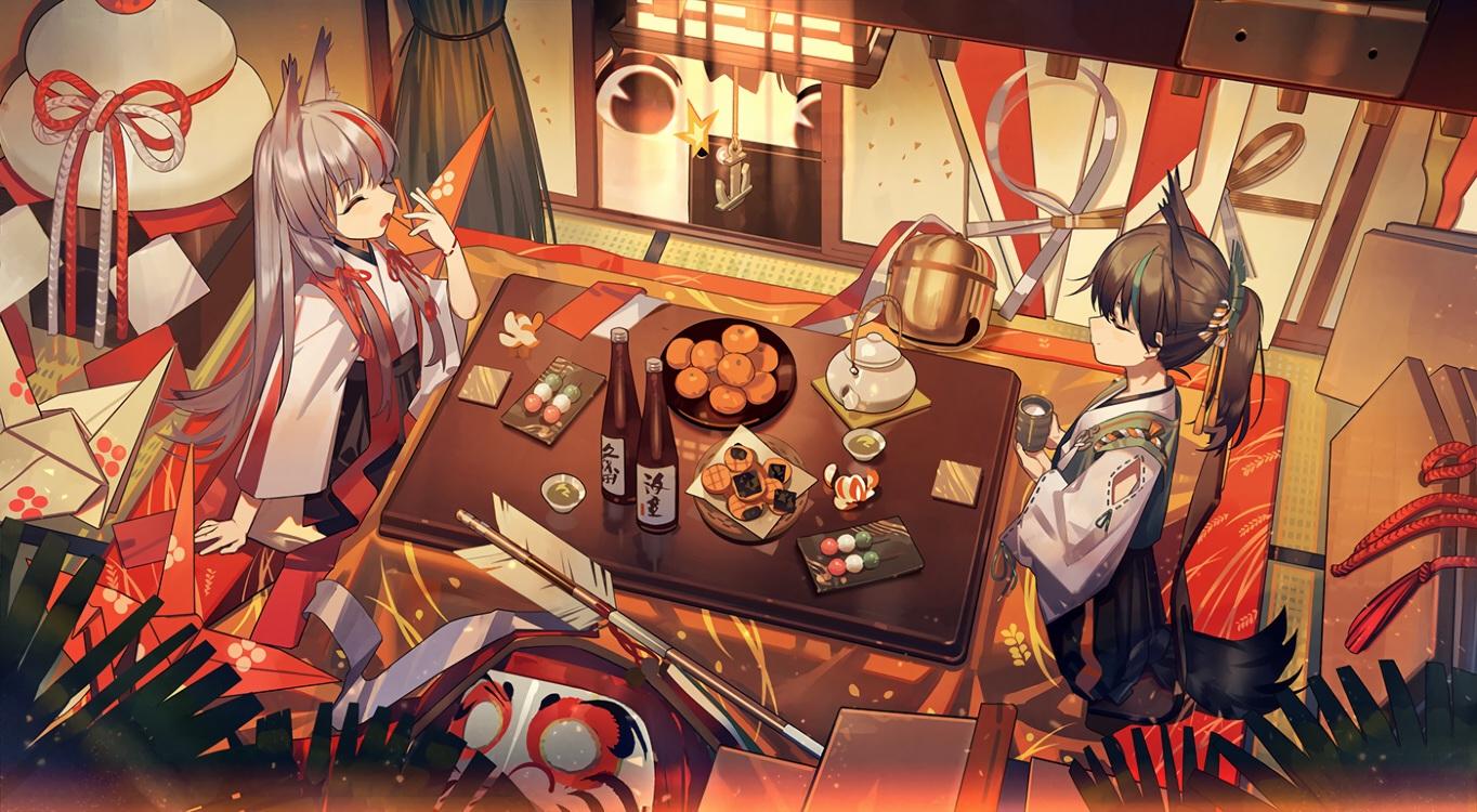 2girls anthropomorphism azur_lane brown_hair drink food fruit gray_hair japanese_clothes kamikaze_(azur_lane) kotatsu long_hair matsukaze_(azur_lane) orange_(fruit) ponytail sake zicai_tang
