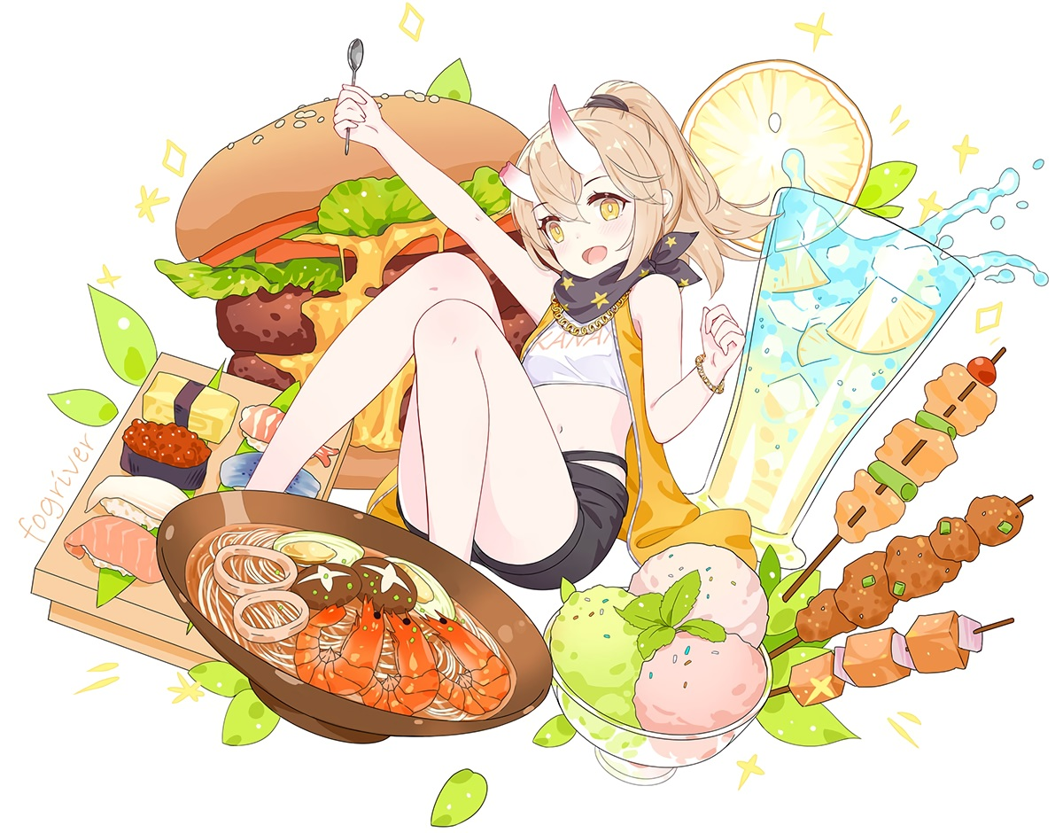 brown_hair drink flat_chest fogriver food fruit honkai_impact ice_cream leaves necklace ponytail scarf shorts tagme_(character) watermark white wristwear yellow_eyes