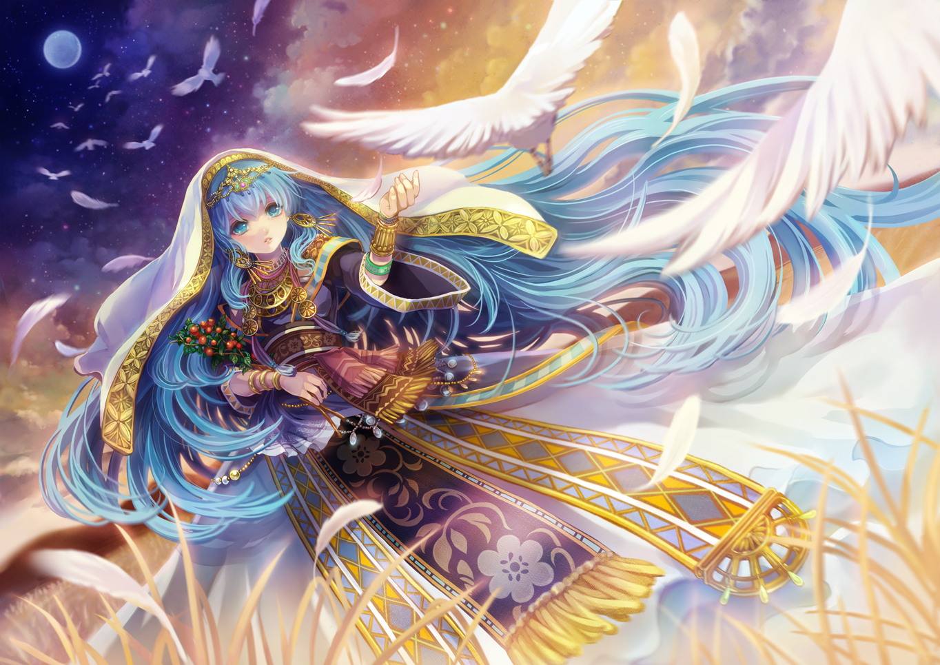 animal aqua_eyes bird blue_hair chiko_(d04099) clouds feathers hatsune_miku long_hair moon original stars vocaloid