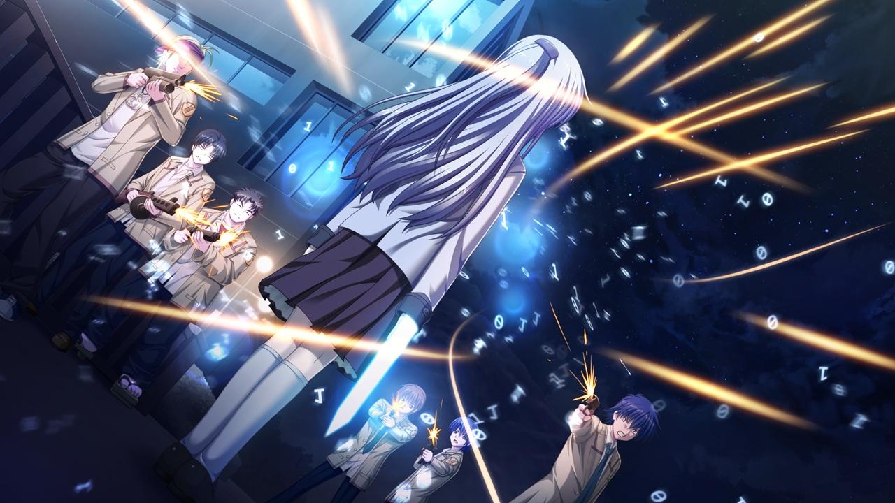 angel_beats! fujimaki game_cg gun hinata_hideki key matsushita na-ga noda otonashi_yuzuru tachibana_kanade tk weapon