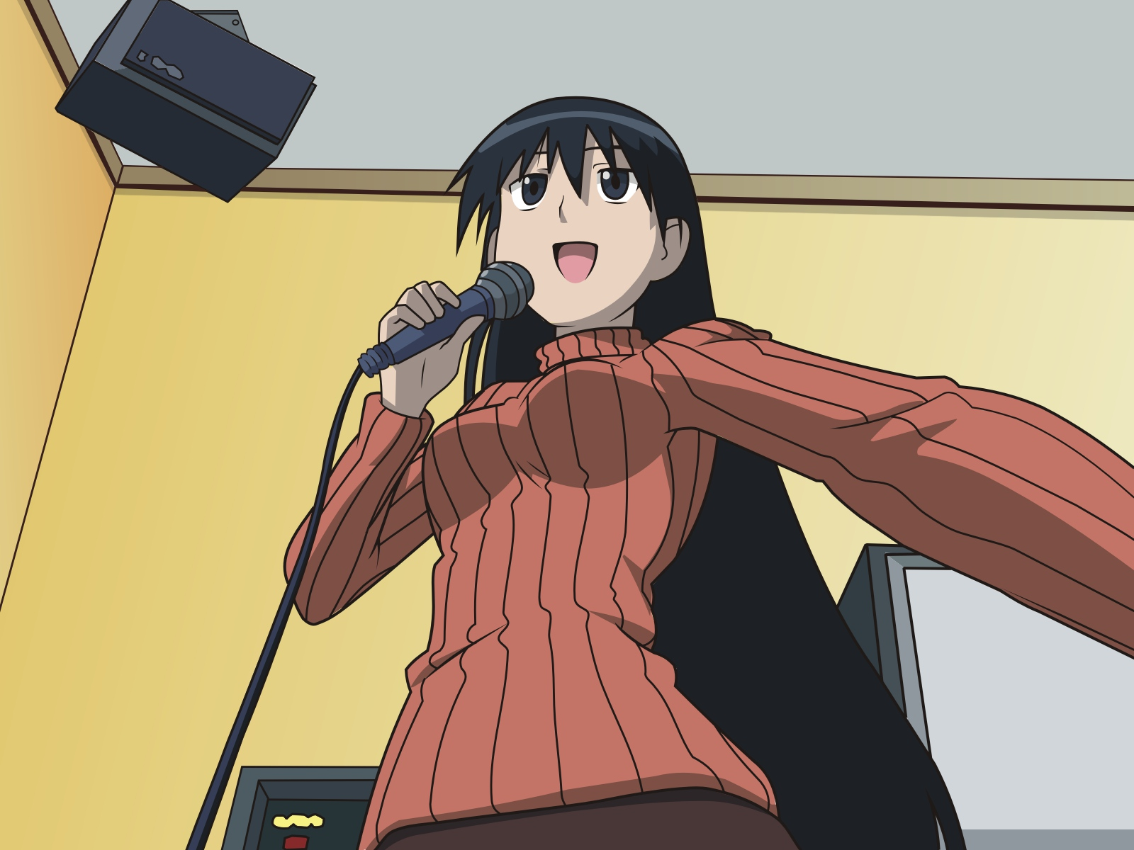 azumanga_daioh microphone music sakaki vector