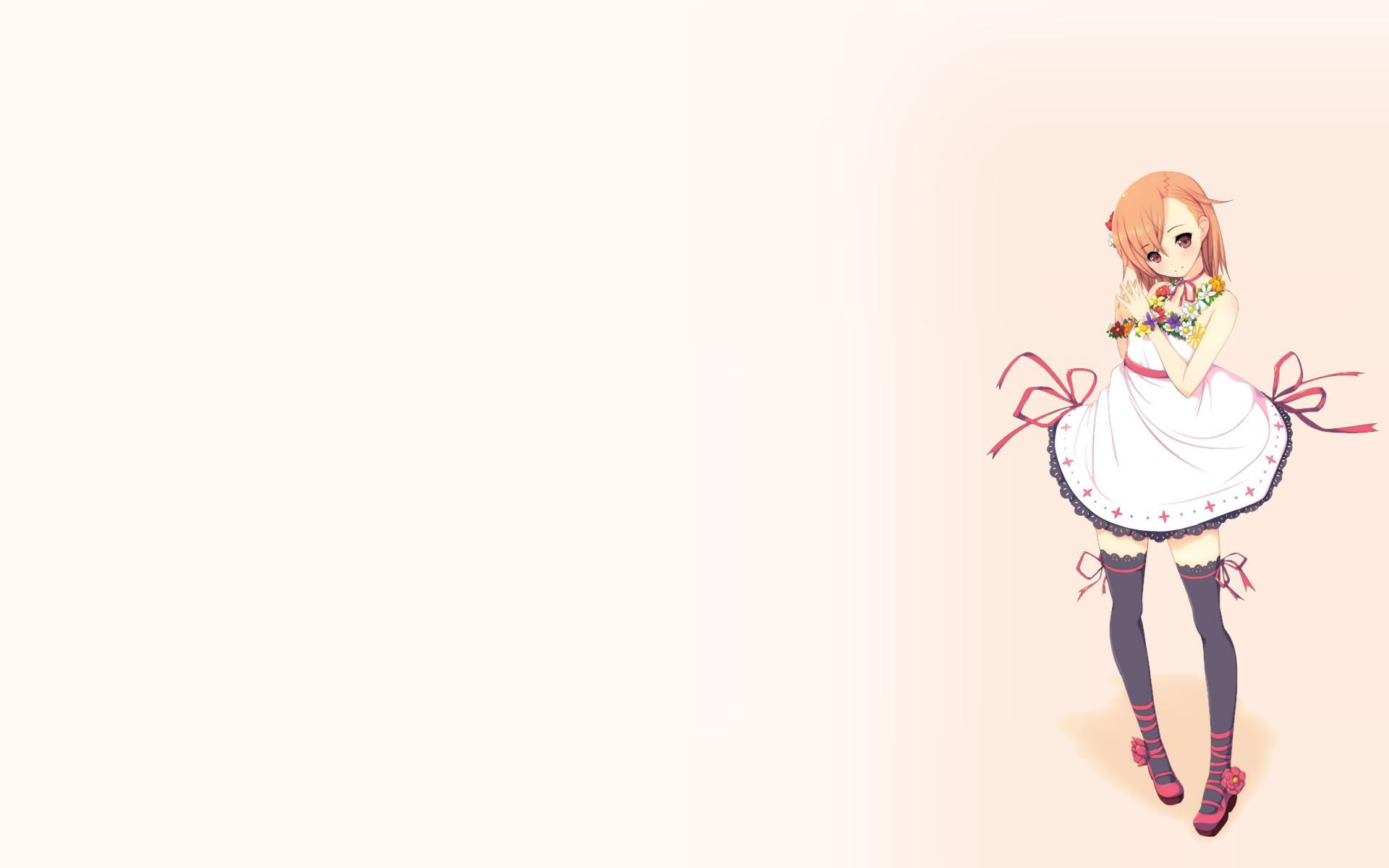 blush brown_eyes dress flowers koflif misaka_mikoto orange_hair ribbons short_hair thighhighs to_aru_majutsu_no_index