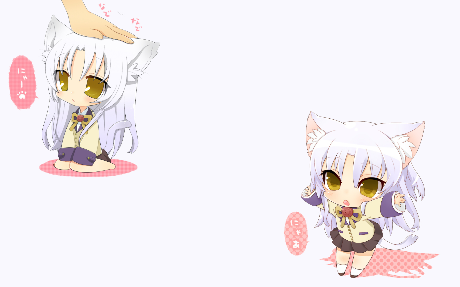angel_beats! animal_ears chibi gray_hair inuue_kiyu long_hair seifuku tachibana_kanade tail white yellow_eyes